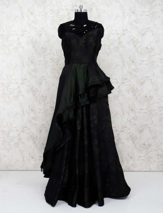 Black hue satin pretty gown