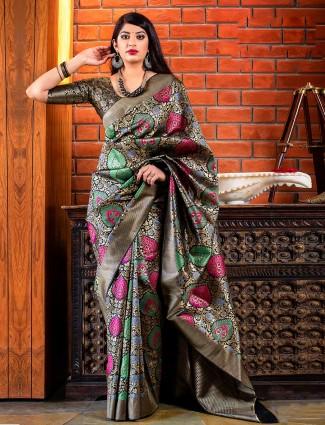 Black hue wedding wear banarasi silk saree