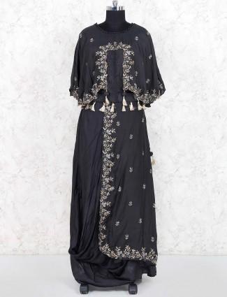 Black hued festive wear cotton silk lehenga choli