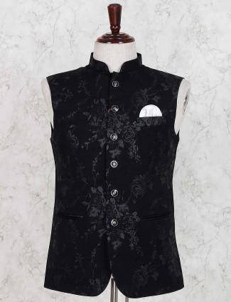 Black printed cotton fabric waistcoat