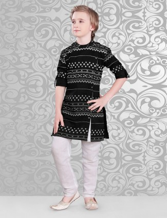 Black printed cotton kurta suit for festive