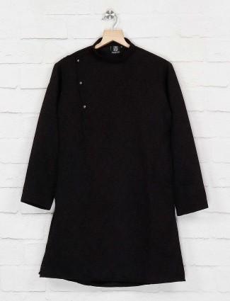 Black printed cotton party wear kurta suit