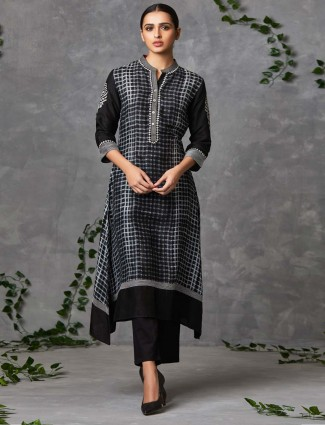 Black printed raw silk salwar suit