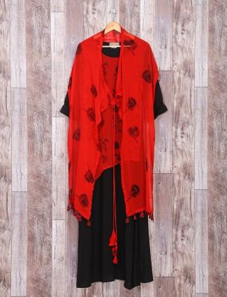Black red designer silk kurti