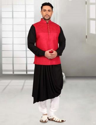 Black red silk designer waistcoat set