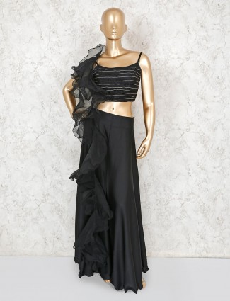 Black satin party wear indo western designer palazzo suit