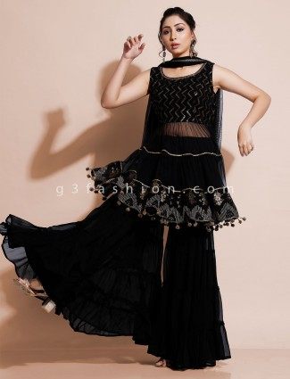 Black sharara suit in georgette for wedding reception