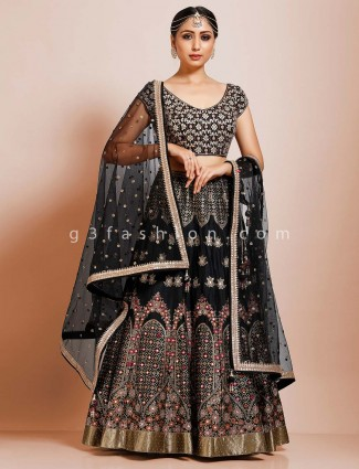 Black silk party function designer lehenga choli