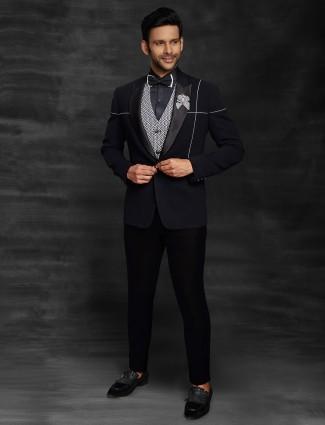 Black solid party wear official suit