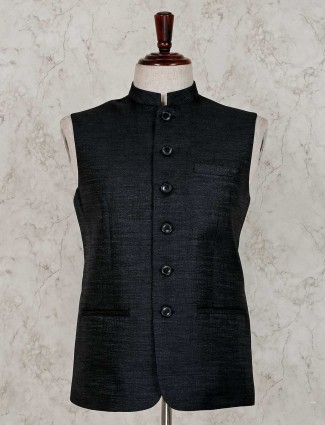 Black solid raw silk party wear waistcoat