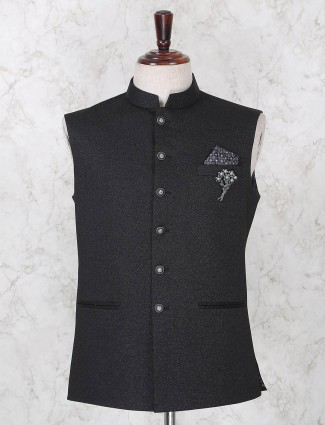 Black solid terry rayon waistcoat for party