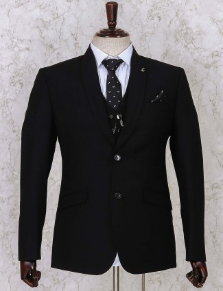 Black solid three piece coat suit