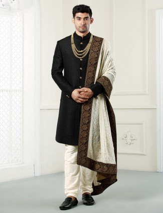 Black solid wedding wear raw silk sherwani