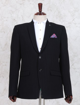 Black stripe pattern blazer