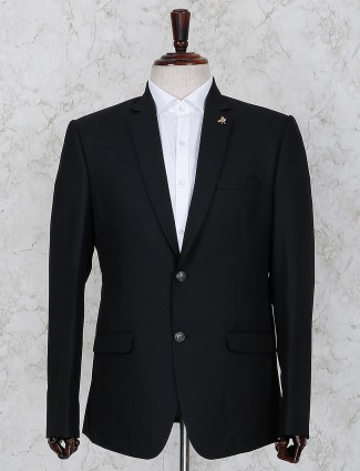 Black terry rayon solid party blazer
