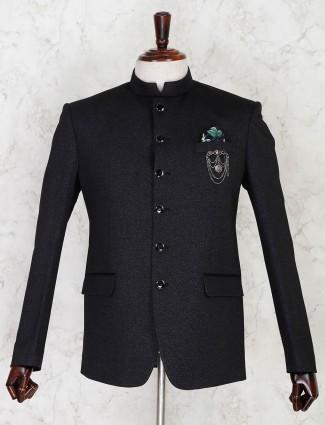 Black terry rayon solid party wear mens jodhpuri blazer