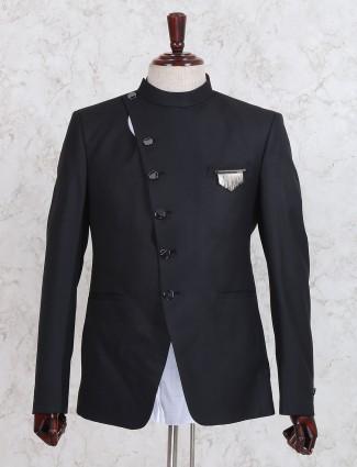 Black texture pattern jodhpuri suit