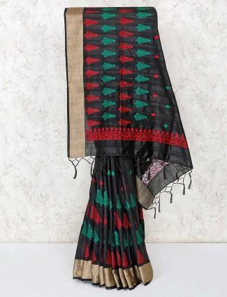 Black thread weaving cotton saree