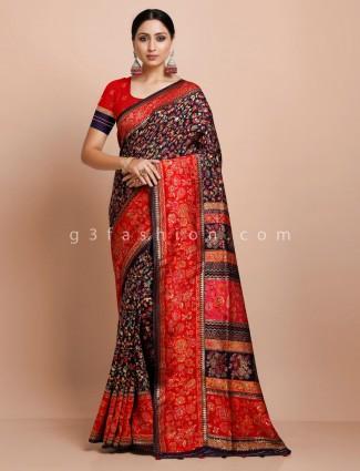 Navy thread weaving pashmina silk saree