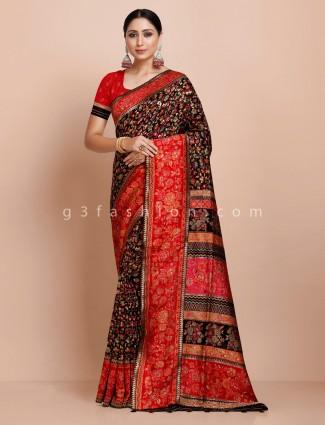 Black wedding pashmina silk saree
