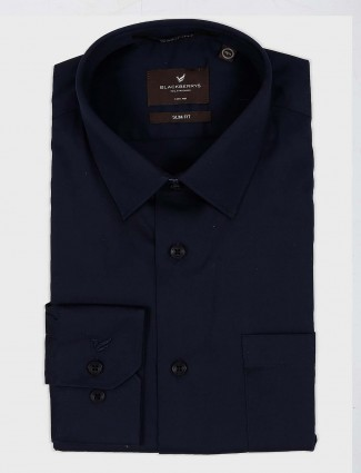 Blackberry solid cotton navy shirt