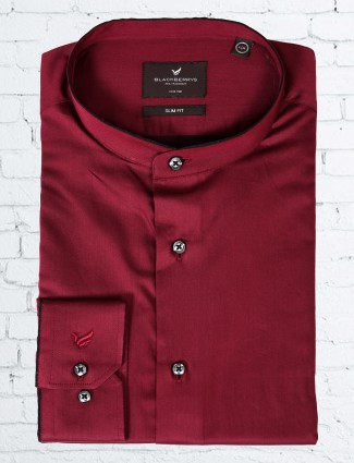 Blackberrys maroon plain shirt