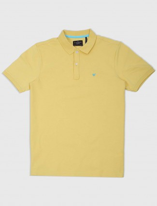 Blackberrys yellow color solid t-shirt