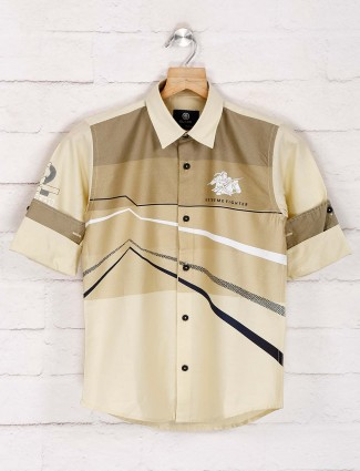 Blazo cream printed latest shirt