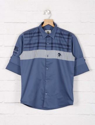 Blazo grey stripe slim collar shirt