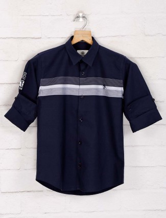 Blazo navy stripe cotton casual shirt