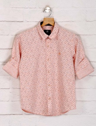 Blazo printed casual peach shirt