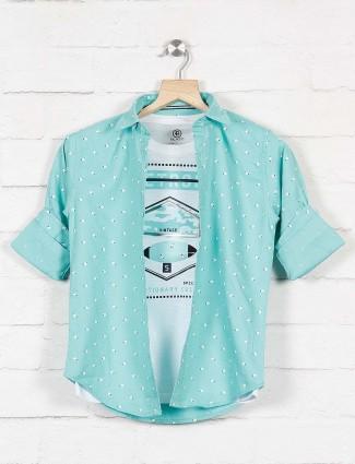Blazo sea green printed cotton shirt