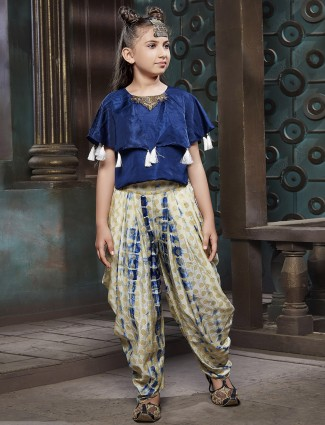 Blue and beige color dhoti suit