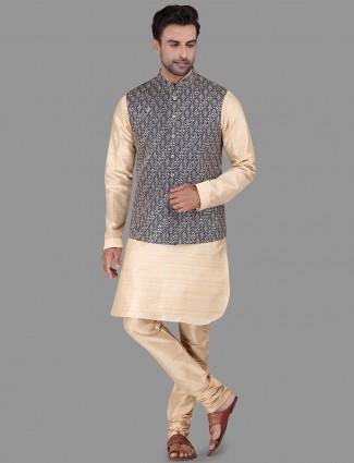 Blue and beige raw silk mens waistcoat set