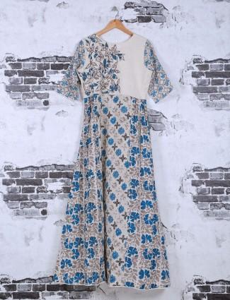 Blue and cream cotton printed kurti