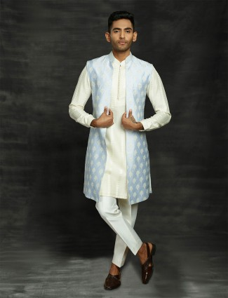Blue and cream silk indo western