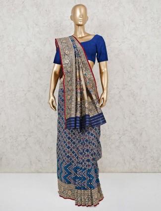Blue and Gold bandhej wedding saree