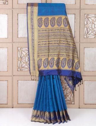 Blue and golden wedding wear silk saree