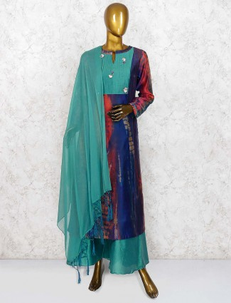 Blue and green cotton silk festive punjabi palazzo suit