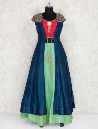 Blue and green lehenga choli in cotton silk
