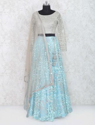 Blue and grey net lehenga choli