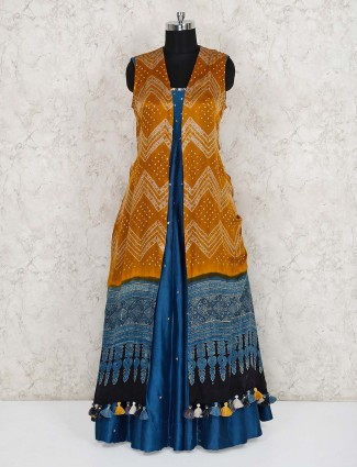 Blue and mustard yellow cotton silk indo western long suit