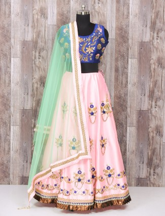 Blue and pink color wedding wear silk lehenga choli