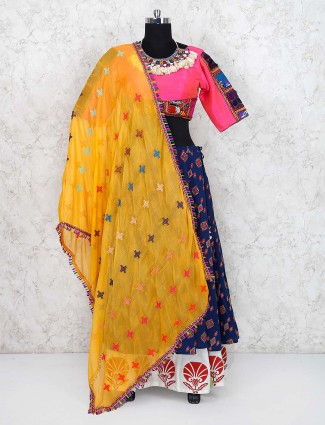 Blue and pink printed cotton silk lehenga choli