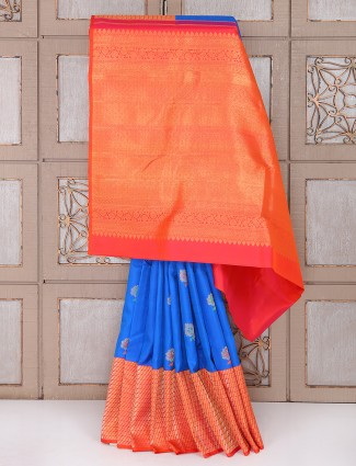 Blue and red color wedding wear saree