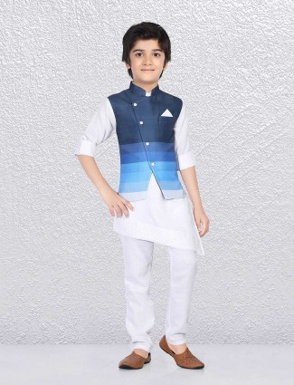 Blue and white cotton jute waistcoat set