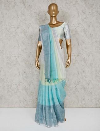 Blue and white line saree