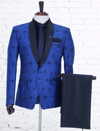 Blue classy terry rayon coat suit