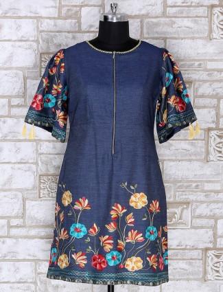 Blue color cotton fabric short kurti