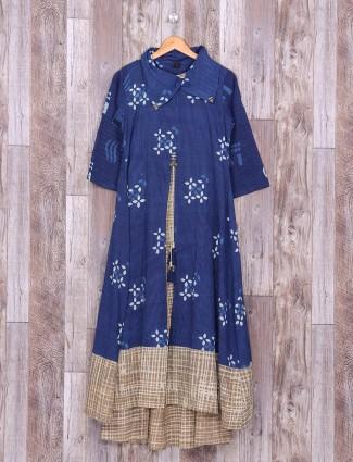 Blue color cotton festivewear kurti